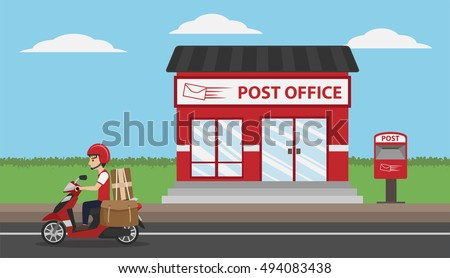 Post Office Service with Postman riding scooter for delivery, cartoon style vector