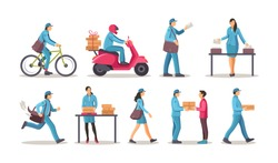 Post office workers shipping letters, parcel set. Postman work courier with bag on bicycle scooter running delivering correspondence, letters to the addressee cartoon vector illustration