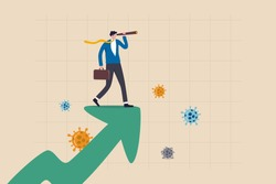 Post pandemic vision, economic outlook after Coronavirus COVID-19 crisis concept, smart businessman standing on upward rising growth graph using telescope to see the way forward with virus pathogen.