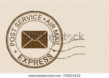 Post service EXPRESS postmark with envelope sign on beige background. Vector illustration