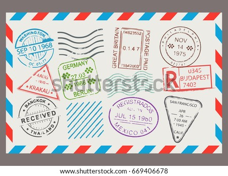 Post stamp flat cartoon set. Letter design, scrapbook border with envelope format, correspondence image. Vector illustration isolated on white background