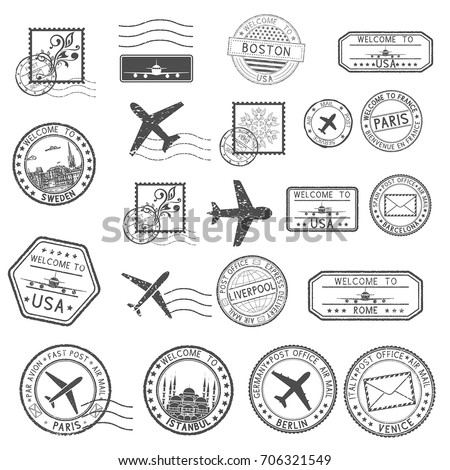 Post stamps. Set of black postmarks and travel Welcome stamps - Welcome to France. Vector illustration isolated on white background