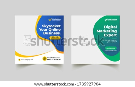 Post Template Digital Business Marketing Social Media Banner and square flyer poster. Editable Promotion corporate Web Banner Stories Ads