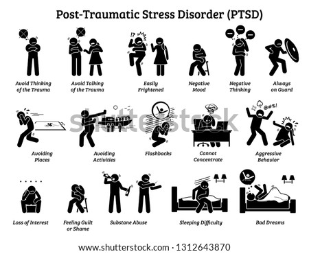 Post Traumatic Stress Disorder PTSD signs and symptoms. Illustrations depict man with post traumatic stress disorder facing difficulty in life and mental issue.