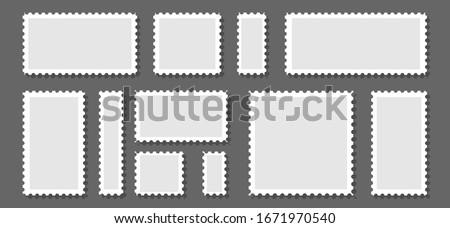 Postage stamp frames set on background. Vector illustration. Foto stock ©