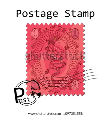 postage stamp on white