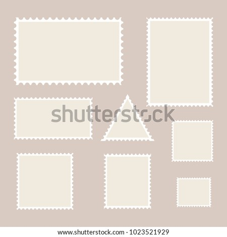 Postage stamp template. Set of blank stamps. Vector