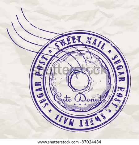 Postage stamp with donut on a paper-background. Vector illustration