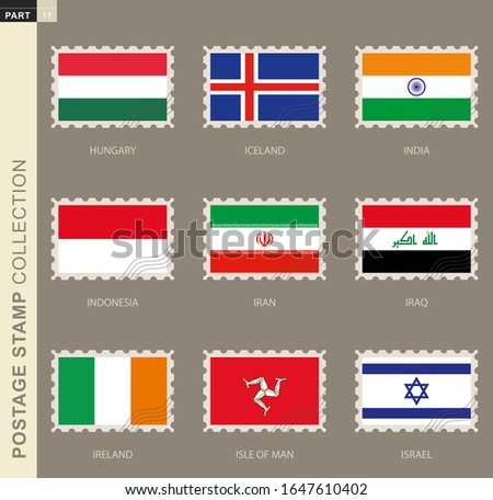 Postage stamp with flag, collection of 9 flag: Hungary, Iceland, India, Indonesia, Iran, Iraq, Ireland, Isle of Man, Israel Foto stock ©