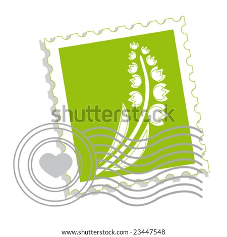 Postage stamp with lily of the valley for st.valentine day. Vector illustration. - stock vector