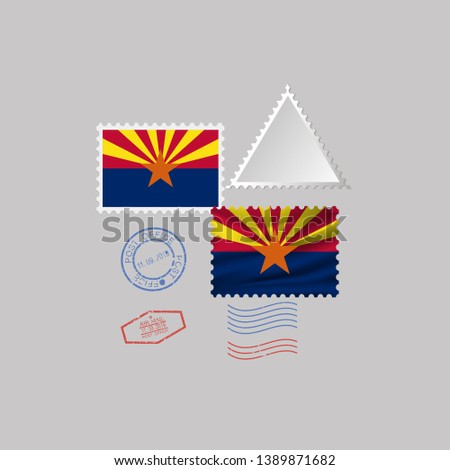 Postage stamp with the image of Arizona state flag. Vector Illustration.