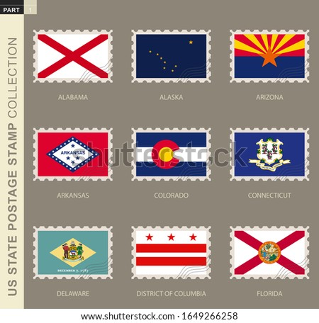 postage stamp with usa states