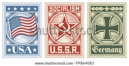 postage stamps collection (usa stamp, ussr stamp, germany stamp) - stock vector