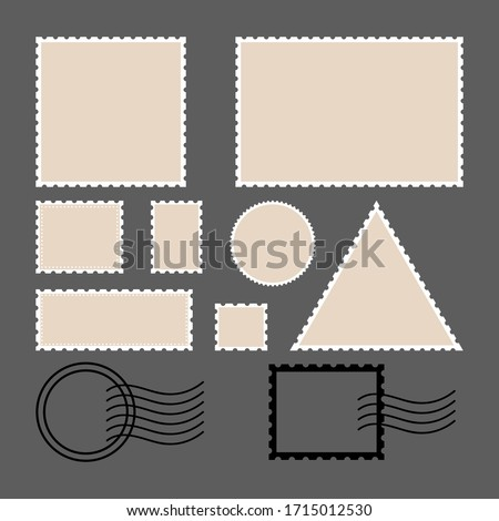 Postage stamps . Empty circles, rectangle and square postage stamps. Retro colors illustration. Flat style. For envelopes, leaflets or paper in retro style. Foto stock ©