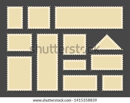 Postage stamps frames. Blank postage stamps in different size for retro paper postcard and post delivery envelope, poststamp vector collection