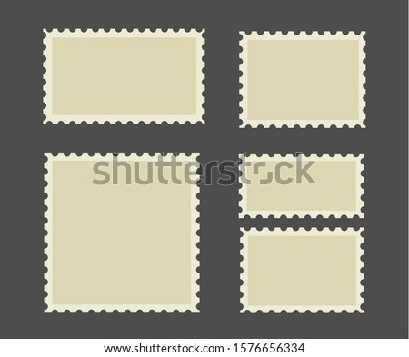 Postage stamps frames. Blank postage stamps in different size. Vector postage stamps