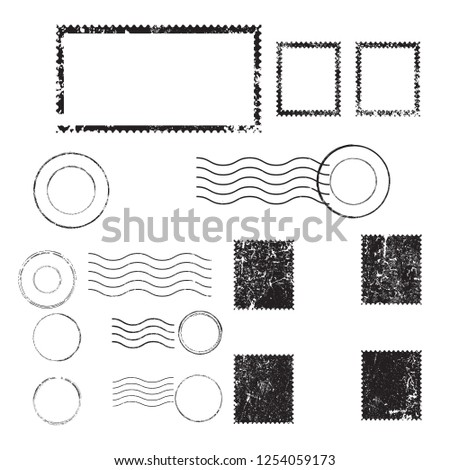 Postage stamps in grunge style. Set of textured postmarks . vector collection of vintage post marks. Foto stock ©