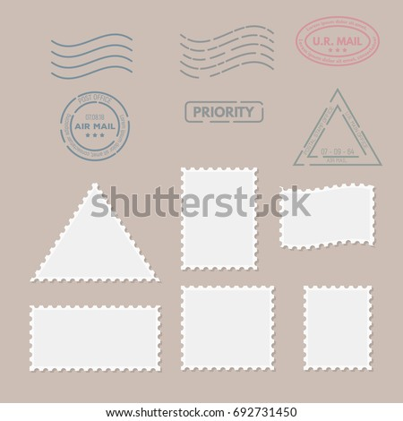 Postage stamps template. Blank rectangle, square and triangle postage marks. Rubber wave stamps. Flat style modern vector illustration with retro colors. For for envelopes, postcards or letter.