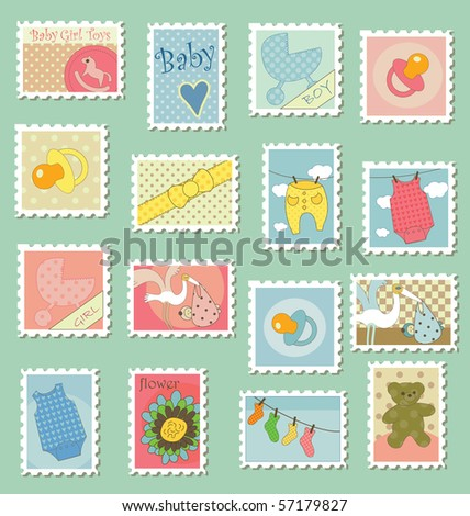 Postage stamps with baby theme