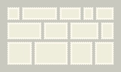 Postage stamps with borders, Vector post or postcards white set