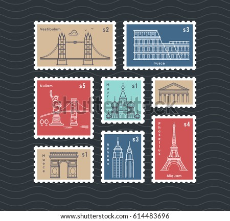 Postage stamps with line travelling city national landmarks vector set. Postmark mail rectangular, illustration of post mark with eiffel tower