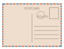Postal card  isolated on white background. Vector illustration. Eps 10.