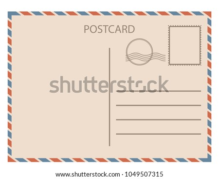 Postal card  isolated on white background. Vector illustration. Eps 10.
