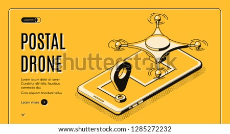 Postal company automated delivery service isometric vector web banner or landing page template. Real-time tracking of delivering parcel with aerial drone on cellphone screen line art illustration