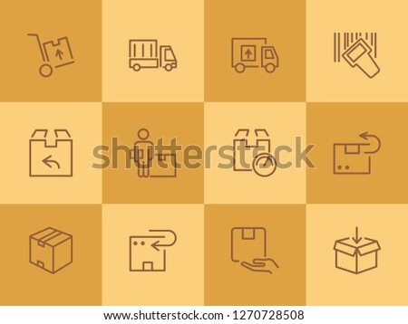 Postal delivery line icon set. Set of line icons on white background. Delivery concept. Parcel, package, post office. Vector illustration can be used for topics like shipping, transporting, delivery #1270728508