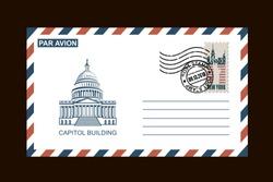 postal envelope design with american symbols on black background