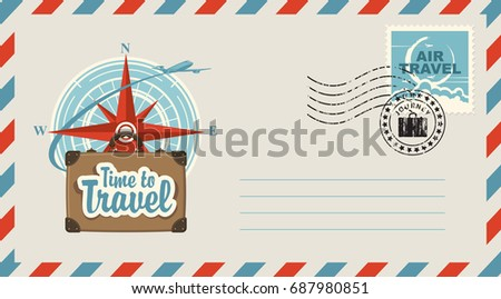Postal envelope with stamp and rubber stamp. Illustration on the theme of travel with a suitcase, passenger plane against the backdrop of the compass Wind rose and the inscription Time to travel