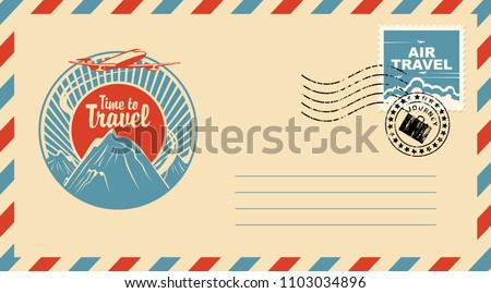 Postal envelope with stamp and rubber stamp. Illustration on the theme of travel with an airplane in the sky flying over the mountains at sunset. Calligraphic inscription Time to travel