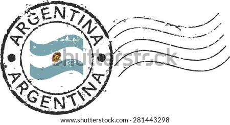 postal grunge stamp 'argentina'