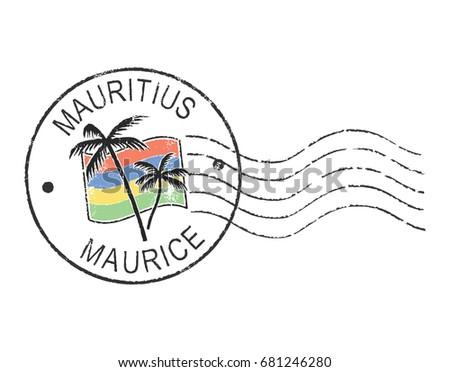 postal grunge stamp ''mauritius'
