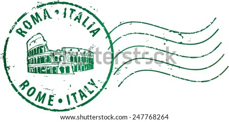 postal grunge stamp 'rome italy'...