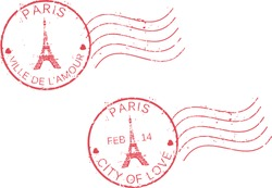 Postal grunge stamps 'Paris-city of love'.St. Valentine's day concept. French and english inscription.