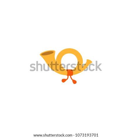postal horn icon vector postal