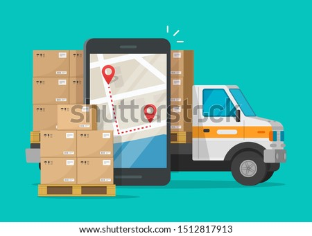 Postal logistic service or courier freight transportation delivery vector, flat cartoon cargo truck automobile with warehouse parcel packages and cellphone or mobile phone city map pin track