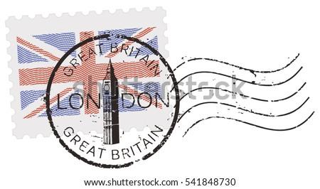 postal stamp symbols 'london  ...