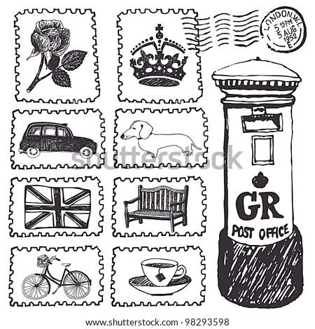 Postal stamps set