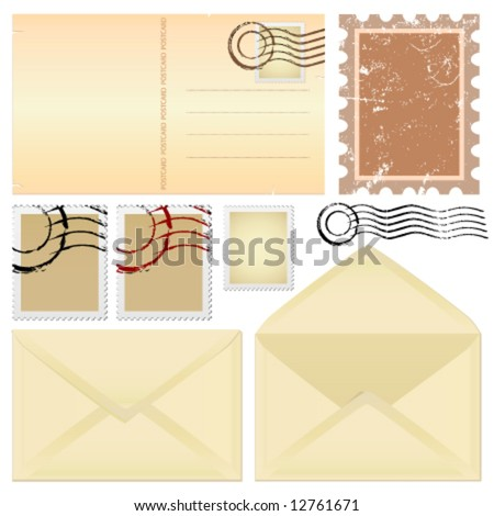 postcard and stamps vector - stock vector