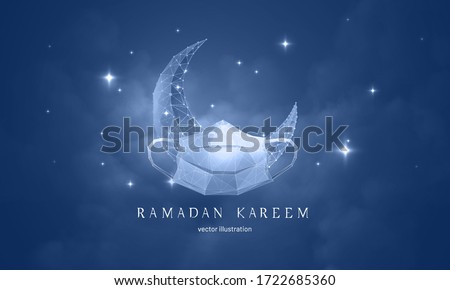 Postcard for muslim Ramadan feast - Vector monochrome abstract illustration crescent in mask isolated on against the background of a starry sky with clouds - Symbol holy month of Ramadan Kareem