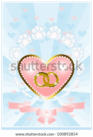 Postcard from the heart and wedding rings on a blue background