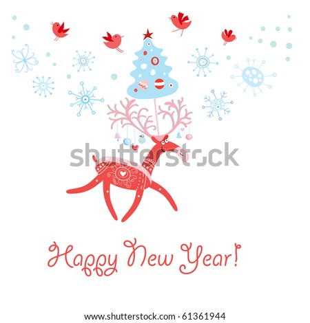 funny deer pictures. stock vector : Postcard funny deer