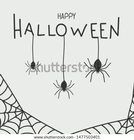 Postcard Happy Halloween with spiders
