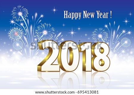 postcard happy new year 2018 on a background of fireworks vector illustration