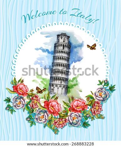 postcard  italy  landmarks