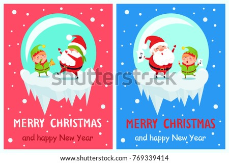 postcard merry christmas happy
