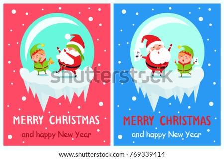 postcard merry christmas happy