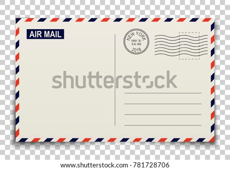 Postcard. Realistic vector illustration with shadows on transparent background. Blank post card template with stamps for greetings and messages. Concept of travels, addresses and communications.